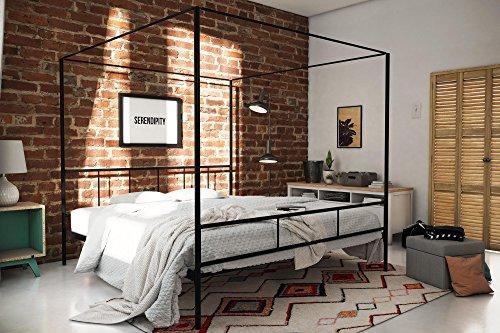 (Novogratz Marion Canopy Bed Frame, Black, King)