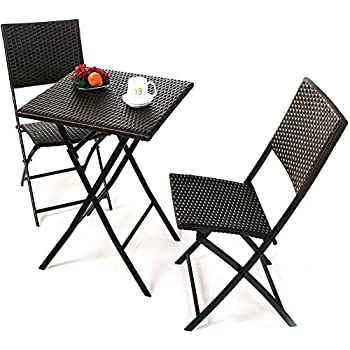 Grand Patio Parma Rattan Patio Bistro Set  Weather Resistant Outdoor  Furniture Sets with Rust. Amazon com  Belleze Folding Table   Chair Bistro Set Rattan Wicker