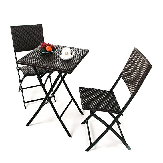 Grand Patio Parma Rattan Patio Bistro Set, Weather Resistant Outdoor Furniture Sets with Rust-Proof Steel Frames, 3 Piece Bistro Set of Foldable Garden Table and Chairs, Brown - Parma outdoor table and chairs is made of powder coated strong steel frames and weather resistant resin wicker, making it perfect for patio, balcony, Terrace, Apartment, garden, Beach and so on. Sturdy yet lightweight construction with oval steel tube. Each chairs can hold up to 300lbs respectively. No assembly required! Come to use and fold smoothly, also very portable, bring the convenience to your furniture storage and save your space. - patio-furniture, patio, conversation-sets - 5142N7RsBWL. SS570  -