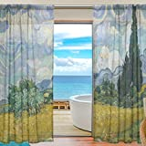 SEULIFE Window Sheer Curtain, Van Gogh Tree Art Painting Voile Curtain Drapes for Door Kitchen Living Room Bedroom 55x78 inches 2 Panels