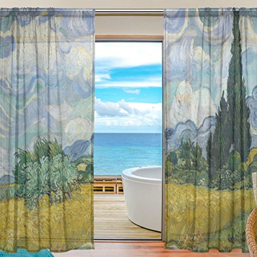 SEULIFE Window Sheer Curtain, Van Gogh Tree Art Painting Voile Curtain Drapes for Door Kitchen Living Room Bedroom 55x78 inches 2 Panels by SEULIFE