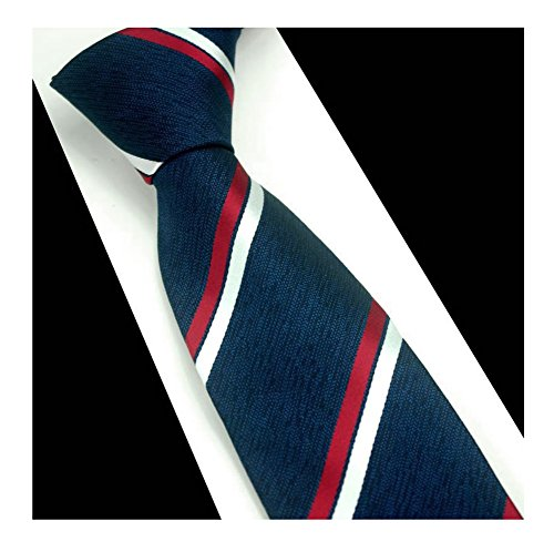 Men Classic Striped Tie Jacquard Woven Repp Wedding Formal Business Slim Necktie (One Size, Navy Red White) ()