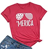 UNIQUEONE Women Letter Print Glasses Pattern Short Sleeve Crew Neck Casual T-Shirt Tees Top Blouse Size M (Red)
