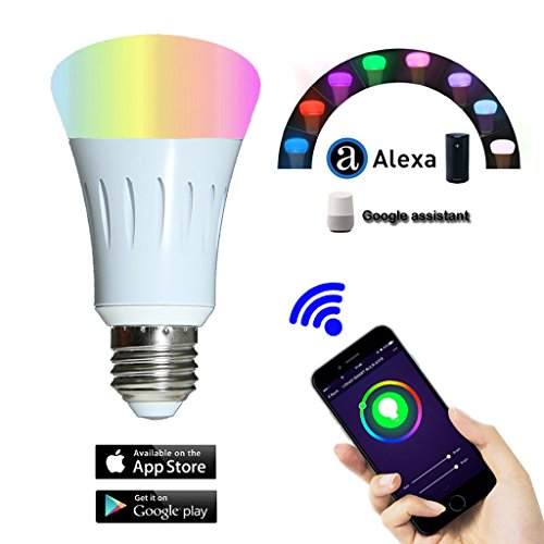 Smart Bulb,Smart LED Night Light Bulbs,16 Million Multi-Color Dimmable,Work with Alexa,Wi-Fi Remote Control,7 Watts(60 Watts Equivalent),No Hub (Temperature Range Remote Bulb)