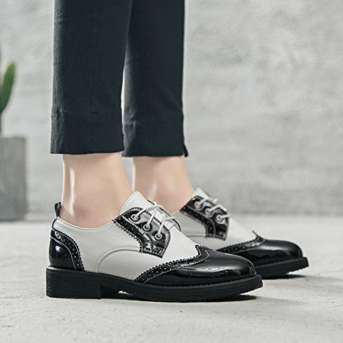 Heel Wingtip Oxfords Two Casual T Shoes Women's Modern Tone Perforated JULY Shoes Low atxZ8Yqwx