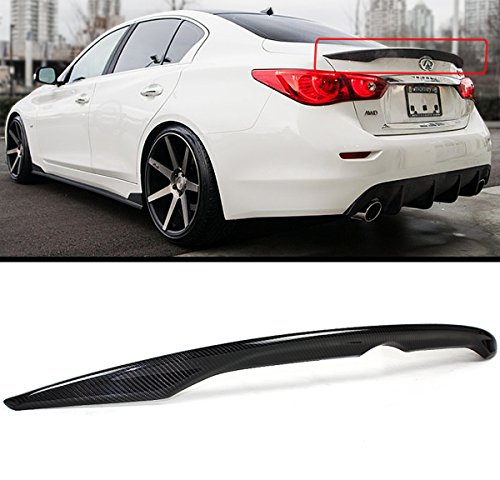 Oe Style High Wing (FITS FOR 2014-2017 INFINITI Q50 Q50S OE FACTORY STYLE CARBON FIBER TRUNK LID SPOILER WING)