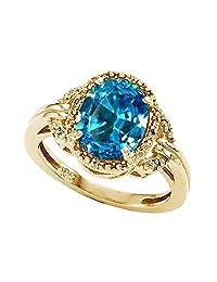 Tommaso Design Oval 10x8mm Genuine Blue-Topaz and Diamond Ring 14k Size 6