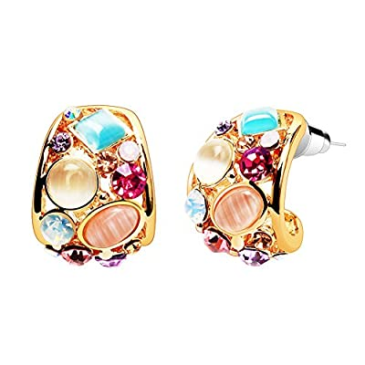 Small Hoop Earrings, LIKGUS Multicolor Crystals and Opal Fashion Earrings for Women and Girls (Gold)
