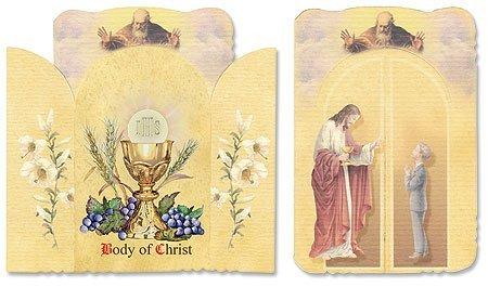 Florentine Boys Catholic First Communion Holy Card Shrine Opening Prayer Card