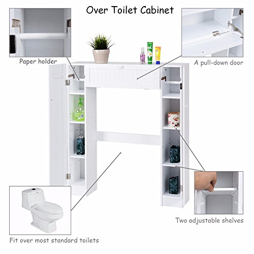 Neolifu (Ship from US) Shelf Over The Toilet Storage Cabinet Wooden White Drop Door Space saver Modern Bathroom Cabinets