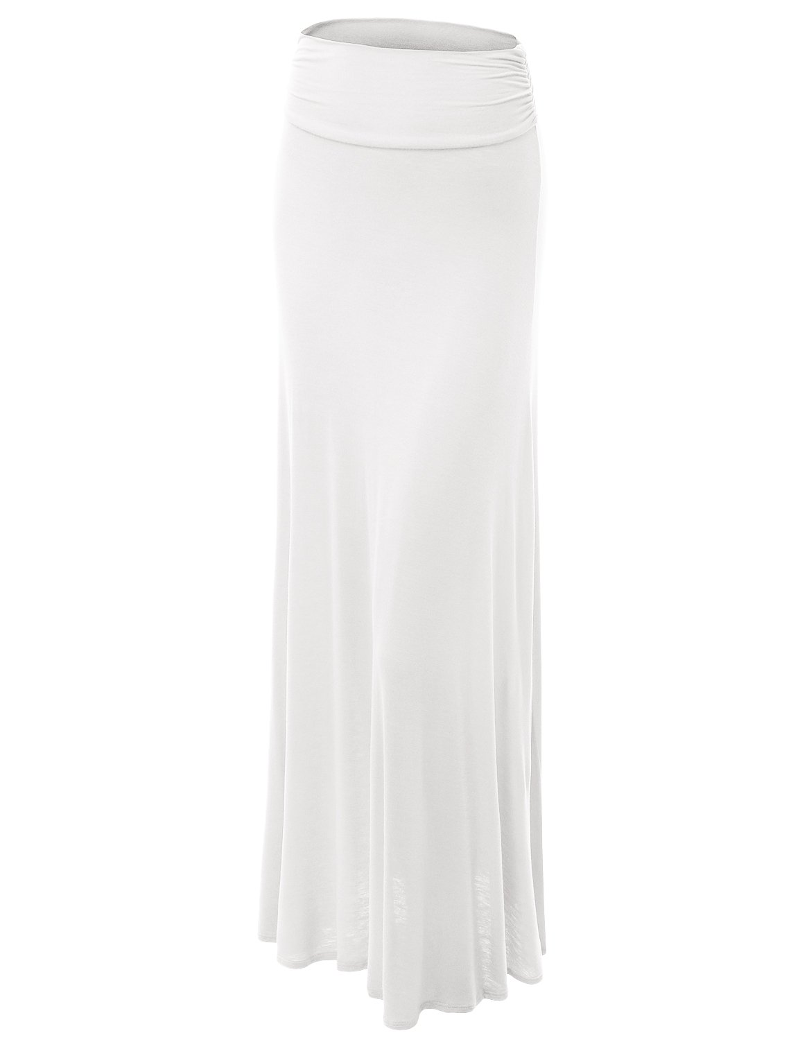 Made By Johnny WB296 Womens Lightweight Floor Length Maxi Skirt L WHITE
