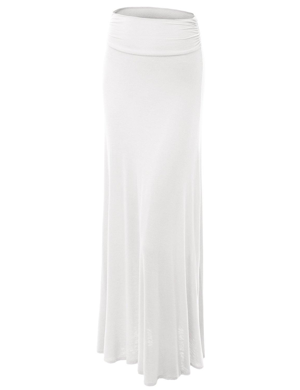 Made By Johnny WB296 Womens Lightweight Floor Length Maxi Skirt XXXL WHITE