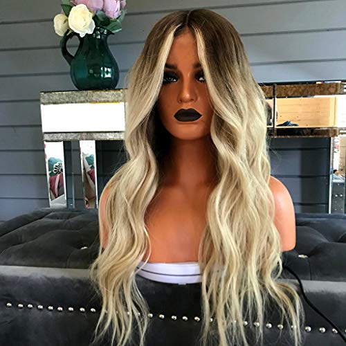 Summer Style Wob Hair Dirty Blonde Black Hair Brown Rooted Blonde Lace Front Wigs for Women (a) -