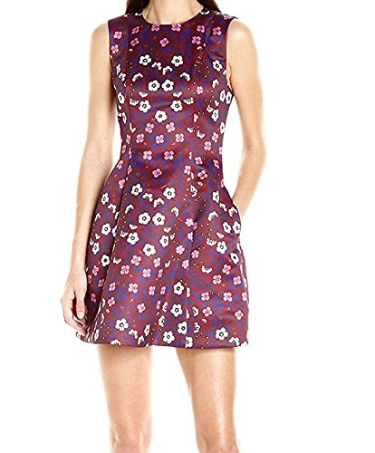 Cynthia Rowley Women's Folky Floral Printed Duchess Satin Bombe Dress, Burgundy, - Red Bombe