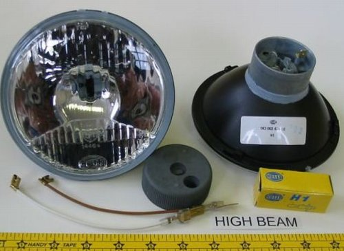 """Hella 5 3/4"""" Round E-Code Conversion High Beam Headlight Kit with Replaceable 55W H1 Bulbs"""