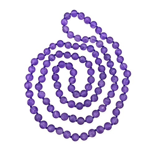 MGR MY GEMS ROCK! 36 Inch 8MM Matte Finish Semi-Precious Genuine Purple Stone Long Endless Infinity Beaded Strand -