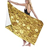 QWED Gold Coins Amazing Unisex Luxury Beach Towels Fashion Sauna Yoga Gym Towel