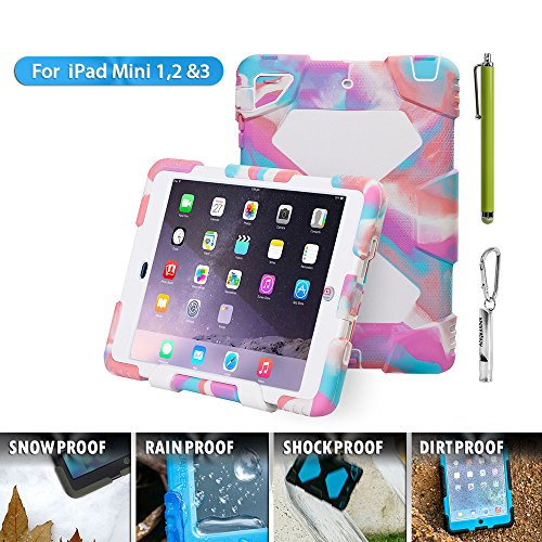 Aceguarder Cover Case with Stand For  Ipad Mini 1&2&3 with Outdoor Carabiner, whistel and Touch Pen