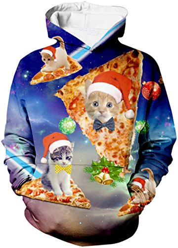 Uideazone Women Print Pizza Cat Christmas Galaxy Pullover Sweatshirts Funny Xmas Hoodie Blue, Asia L = US M, Christmas18