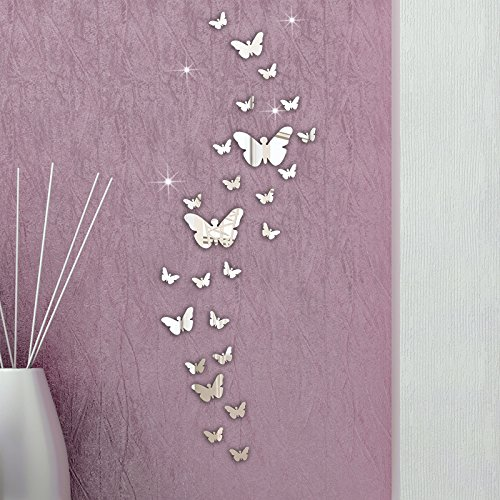 30 Pcs Acrylic Mirror Wall Stickers, E-Scenery Grand Sale! Removable DIY 3D Wall Decals Mural Art Wallpaper for Room Home Nursery Wedding Party Birthday Office Window Decor, Silver -