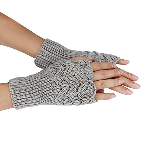 Loneflash Gloves, Women Warm Winter Brief Heart Paragraph Knitting Half Fingerless Gloves (Gray) ()