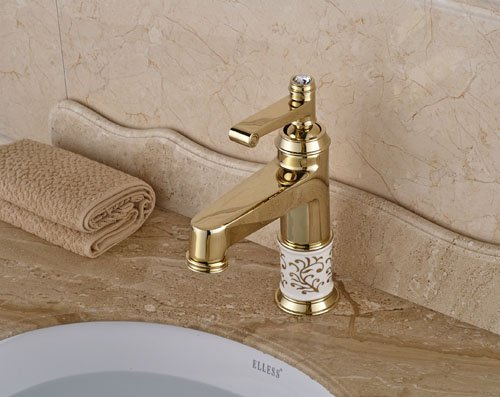 best New Style Gold Finish Brass Single Hole Bathroom Sink Faucet