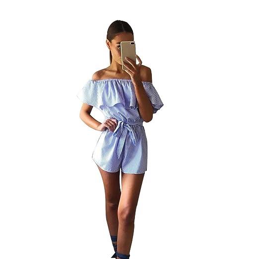 aa0f4e6f3fe2 Sunward Women Sexy Ruffle Off Shoulder Jumpsuit Beachwear Vintage Strip  Short Rompers Playsuit (S