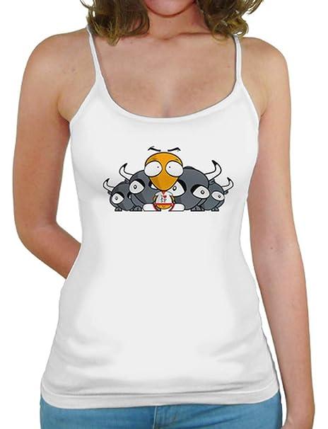 latostadora - Camiseta Chica Frikito San Fermn para Mujer Blanco S