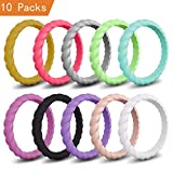 Mokani Silicone Wedding Ring for Women, Thin and Braided Rubber Band, Fashion, Colorful, Comfortable fit, Skin Safe