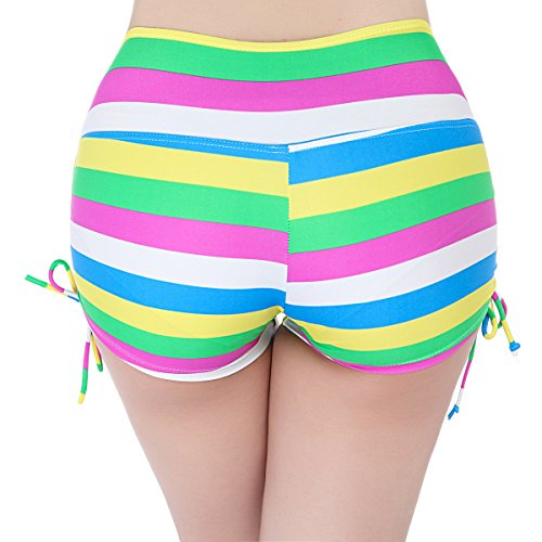 FLYILY Women's Sports Swim Shorts with adjustable Drawstring(EUR 34-36(Tag S),BlackDot)
