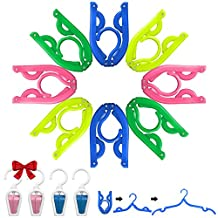 8 Pcs Portable Travel Folding Clothes Hangers, YuCool Foldable Plastic Drying Rack for Kids and Adults,with 4 Pack Clips - Blue, Green, Yellow, Pink
