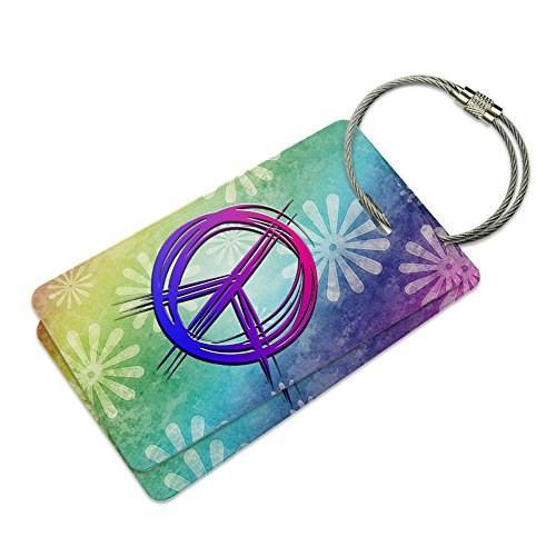 - Hippie Peace Signs and Flowers Suitcase Bag ID Luggage Tag Set