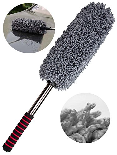 TopSZ Car Home Duster Premium Exterior and Interior Dense Microfiber - Scratch Free, Lint Free - Car Care Accessories Cleaning Brush - Telescoping Handle