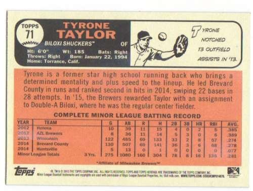 2015 Topps Heritage Minor League Gum Damage Back SP Parallel #71 Tyrone Taylor
