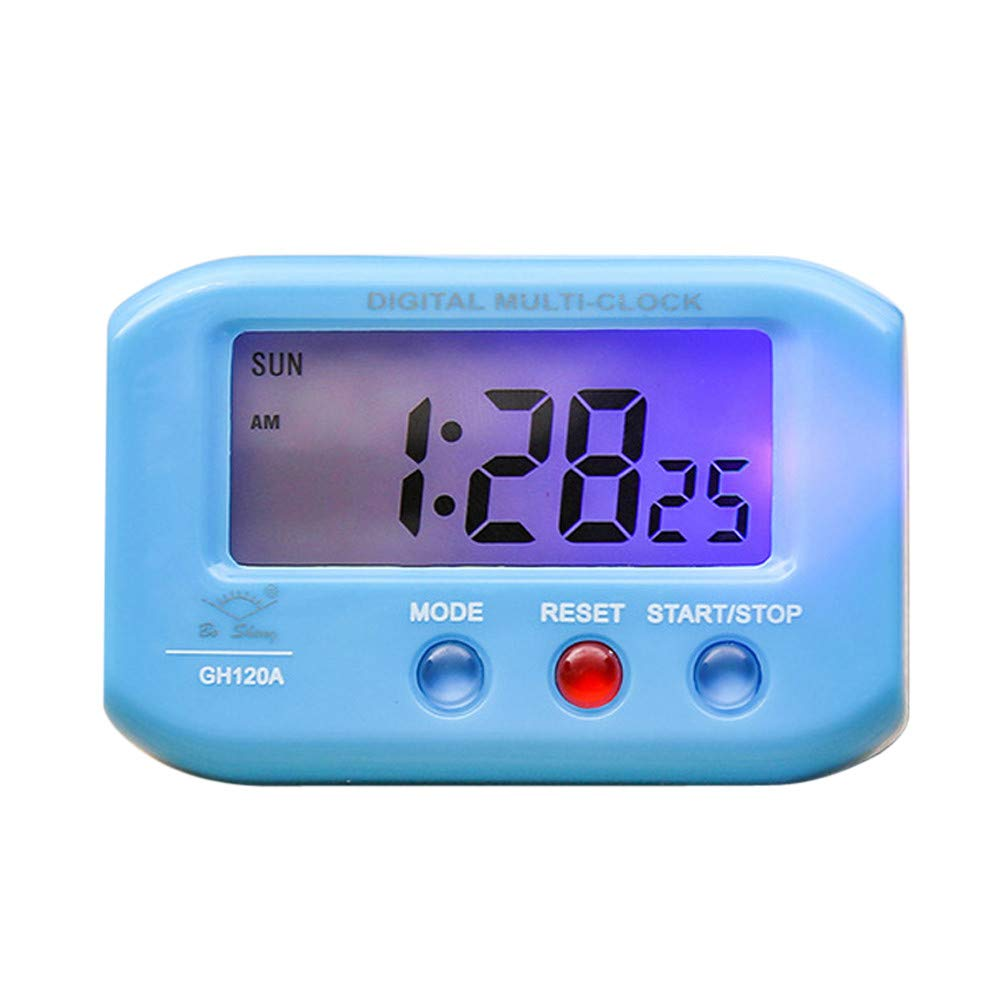 LiPing 2.6'' LED Digital Backlight LED Display Table Alarm Clock Snooze Thermometer Calendar Alarm Clock Multifunction Sunrise Alarm Clock (Blue)