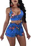 Symina Women's 2 Piece Boho Crop Top High Waist Hot Shorts Set Floral Print Outfits