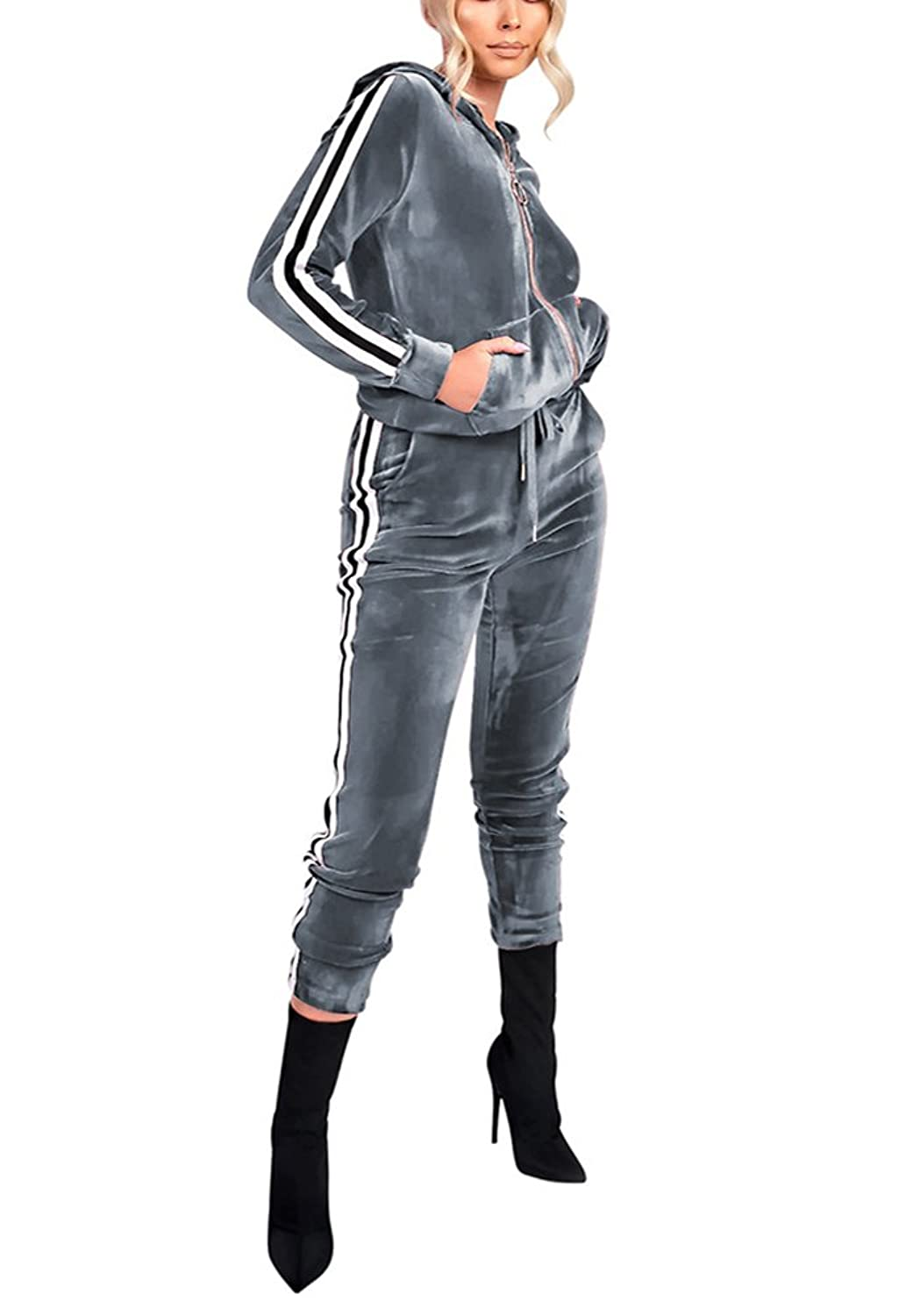 Vamvie Women's Hoodie Zip Up Jogging Long Sleeve+Long Pants Velour Striped Tracksuit Set With Pocket