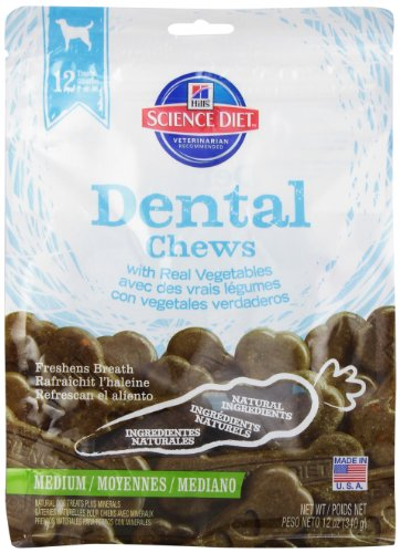 Hill'S Science Diet Dental Chews With Real Vegetables Medium Dog Food, 12-Ounce Pouch