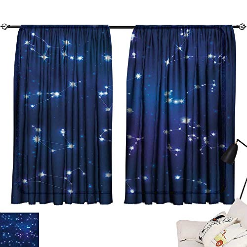 Davishouse Constellation Thermal Curtains Realistic Celestial Gemini Leo Pisces Sagittarius Galactic Privacy Protection (Screen Celestial Fireplace)