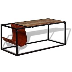 Festnight Tavolino da caffè in Vera Pelle con Portariviste 110x50x45 cm