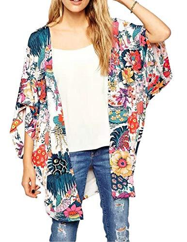 - Casual Outwear for Women Vintage Flowy Flower Print Cardigan Colorful XL