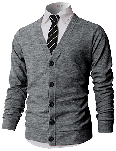 H2H Men's Long Sleeve Lightweight Buttondown Cardigan Sweater Gray US L/Asia XL (KMOCAL0183)