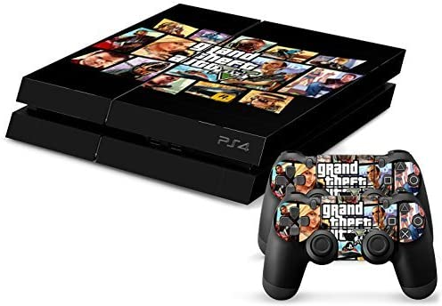 Grand Theft Auto 5 GTA V PS4 Playstation 4 Console + 2 Controllers Skin Sticker Vinyl Decal Set by Skins R Us: Amazon.es: Videojuegos