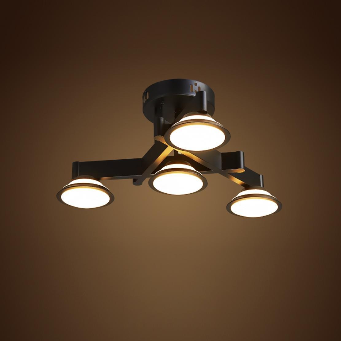 LED Deckenleuchte Industrielampe Vintage Design Deckenlampe Innen Decor Decke Beleuchtung Retro Metall Deckenstrahler Kronleuchter Schlafzimmer WohnzimmerLeuchte Esstischleuchte Dimmbar 4X 3W Leuchter