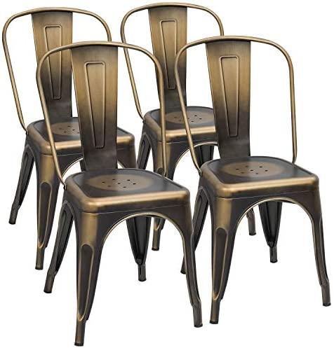 Furmax New Process Metal Chairs Stackable Dining Indoor Outdoor Use Bistro Cafe Side Patio Chairs Set of 4 Gold