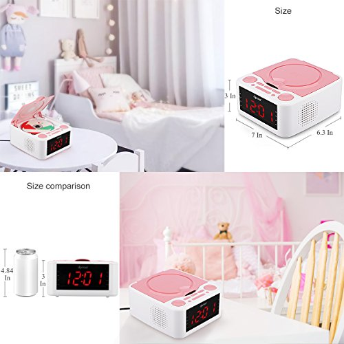 Alarm Clock Radio, CD Player, with USB Port, Headphone Jack, Aux Input, Remote Control, 12 /24H Time Display with Backlight, Sleep Timer (Pink)