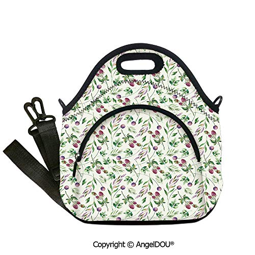 AngelDOU Nature Fashoniable Work Lunch Bags Raspberry Branches Leaves Petals Elegance Spring Florets Watercolor Art student cute girls mummy - Napkin Beverage Raspberry