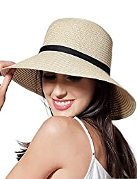 CAIYING Women Summer Sun Beach Straw Hat Travel Packable Cap with Chin Strap