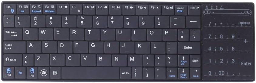 Negro Mini Bluetooth Teclado inalámbrico con Touchpad para iPhone y iPad o PC