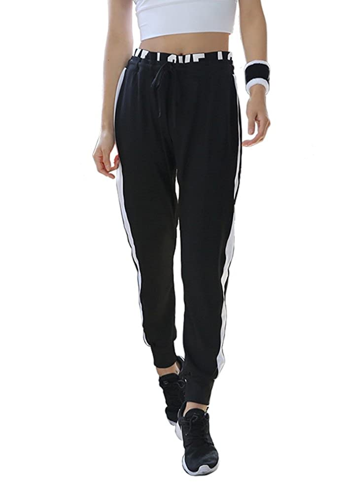 G-Fengshang Women's Active Drawstring Waist Striped Side Jogger Sweatpants